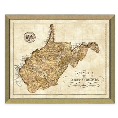 Map of West Virginia Framed Print