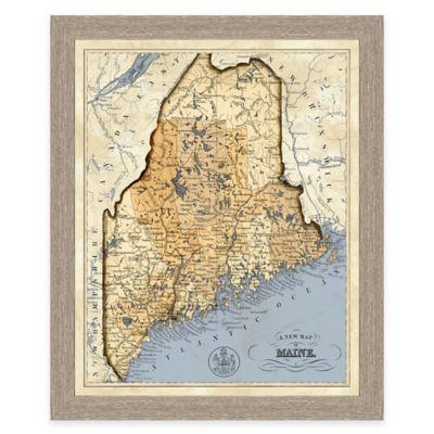 Map of Maine Framed Print