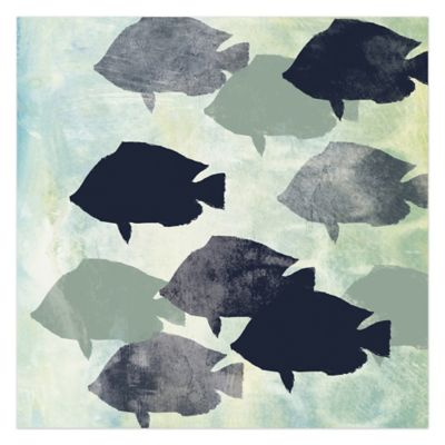 School Of Fish 36-Inch x 36-Inch Canvas Wall Art