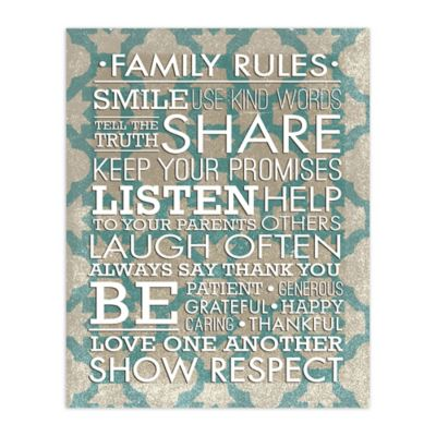 Family Guidelines 8-Inch x 10-Inch Canvas Wall Art