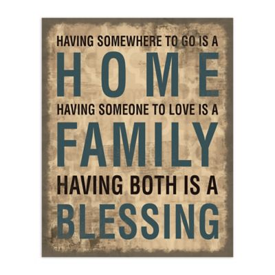 Family Home Blessing 8-Inch x 10-Inch Canvas Wall Art