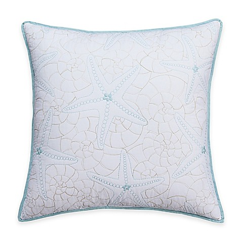 Coastal Life Luxe Sonoma Starfish Embroidered Throw Pillow in White - Bed Bath & Beyond