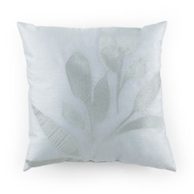 Kathy Davis Reflections Silver Leaf Square Throw Pillow