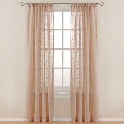 Gracie 84-Inch Rod Pocket Sheer Window Curtain Panel in Taupe