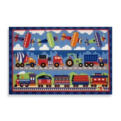 Fun Rugs™ Trains, Planes & Trucks 1-Foot 7-Inch x 2-Foot 5-Inch Rug
