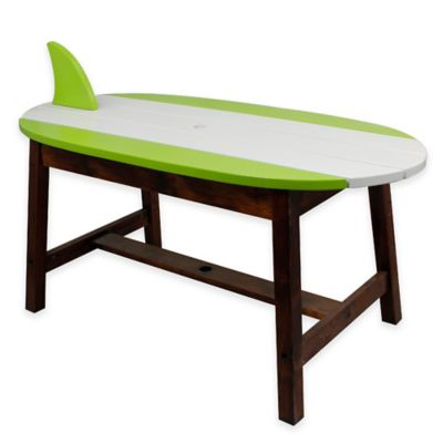 Teamson Kids Outdoor Table and Bench Set with Umbrella in Surfboard
