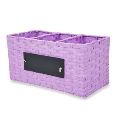 RGI Woven Cord Chalkboard Panel Storage Caddy in Lavender