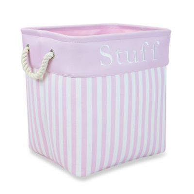 "RGI ""Stuff"" Storage Tote with Rope Handles in Pink Stripe"
