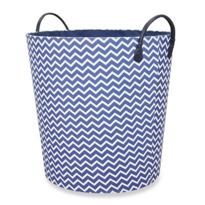 RGI Chevron Round Tapered Storage Tote in Navy/White