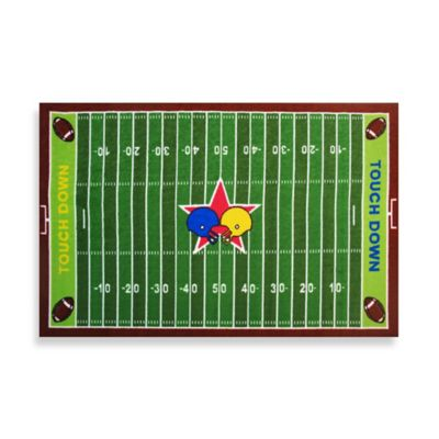 Fun Rugs™ Football Field 3-Foot 3-Inch x 4-Foot 10-Inch Area Rug