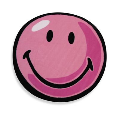 Fun Rugs™ Smiley 3-Foot 3-Inch Round Rug in Pink