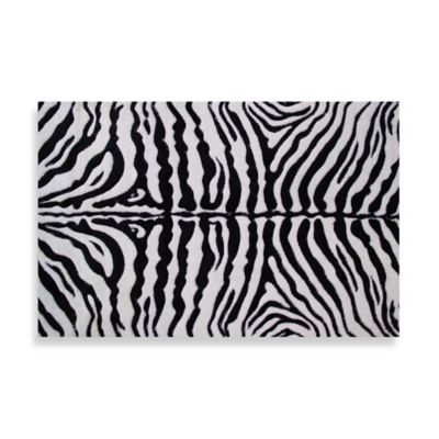 Fun Rugs™ Zebra Skin 5-Foot 3-Inch x 7-Foot 6-Inch Rug in White/Black