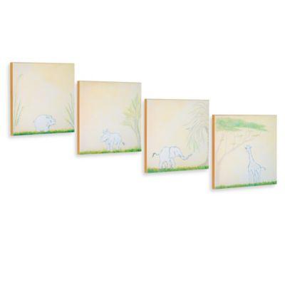 Green Frog Safari Playmates Canvas Wall Art (Set of 4)
