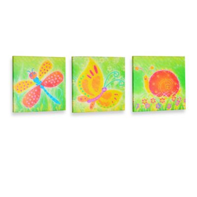 Green Frog Friendly Critters Canvas Wall Art (Set of 3)