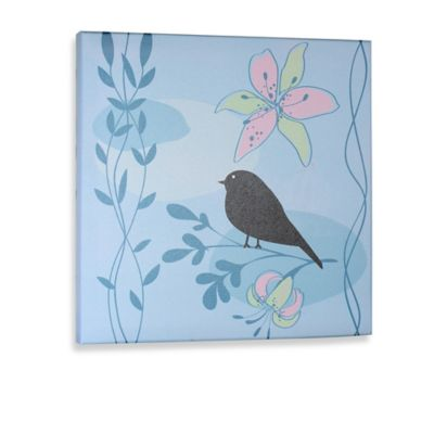 Green Frog Little Birdie I Canvas Wall Art