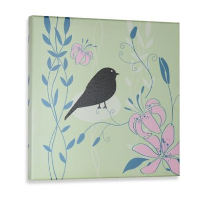 Green Frog Little Birdie II Canvas Wall Art