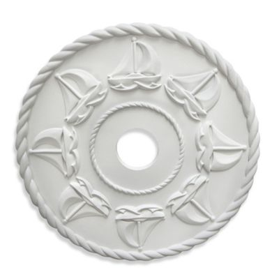Marie Ricci Collection™ Sailboats Ceiling Medallion in White