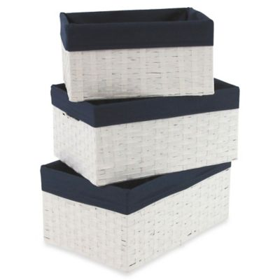 W.C. Redmon 3-Piece Basket Storage Set in White/Navy