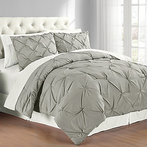 Buy Pintuck King Comforter Set In Grey From Bed Bath Amp Beyond