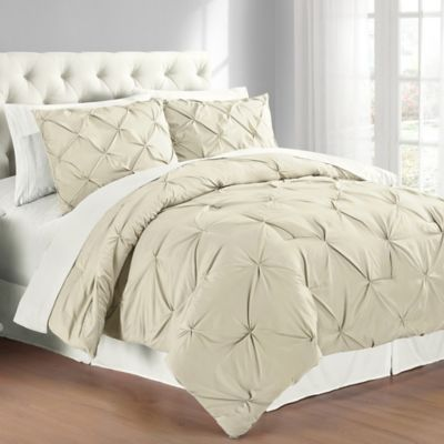 Pintuck Twin Comforter Set in Taupe