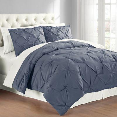 Pintuck King Comforter Set in Indigo
