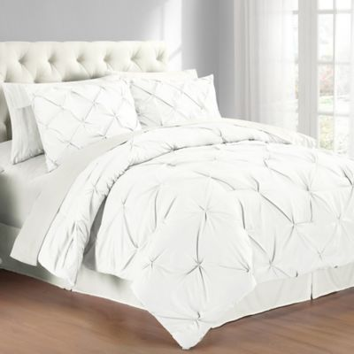 Pintuck King Comforter Set in White