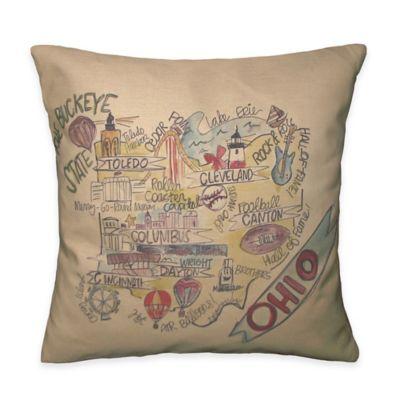 Southern Apparel & Serendipity Ohio Square Road Map Throw Pillow