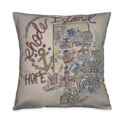 Southern Apparel & Serendipity Rhode Island Square Road Map Throw Pillow