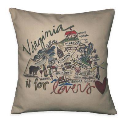 Virginia Square Road Map Throw Pillow