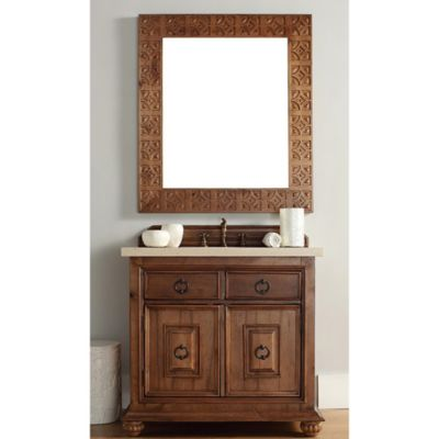 James Martin Furniture Mykonos 36-Inch Single Vanity with Beige Stone Top in Cinnamon