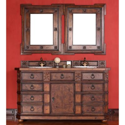 James Martin Furniture Regent Double Vanity with Wood Top in Brown