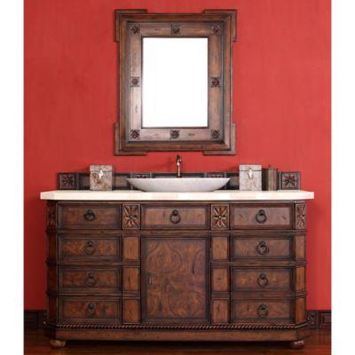 James Martin Furniture Regent 60-Inch Single Vanity with Galala Beige Stone Top in English Burl