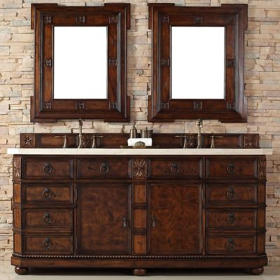 James Martin Furniture Regent 72-Inch Double Vanity with Galala Beige Stone Top in English Burl