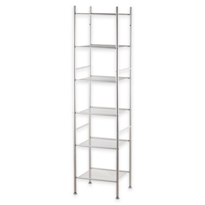 6-Tier Tower Rack Bath Shelf in Faux Nickel