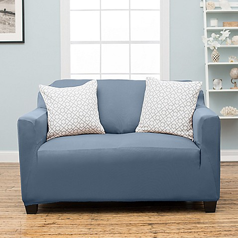 Buy stretch fit protective twill loveseat slipcover in blue from bed bath beyond Blue loveseat slipcover