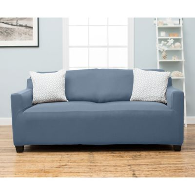 Stretch Fit Protective Twill Sofa Slipcover in Blue