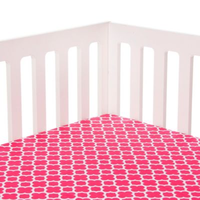 Glenna Jean Pippin Quatrefoil Fitted Crib Sheet in Pink