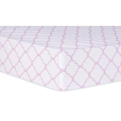 Trend Lab® Orchid Bloom Quatrefoil Fitted Crib Sheet