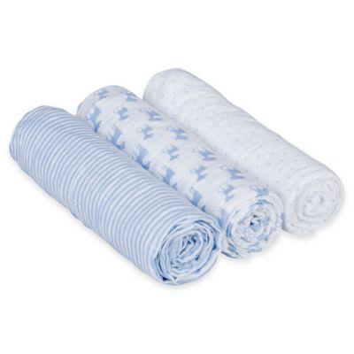 Lassig Lela 3-Pack Large Swaddle & Burp Blankets in Blue