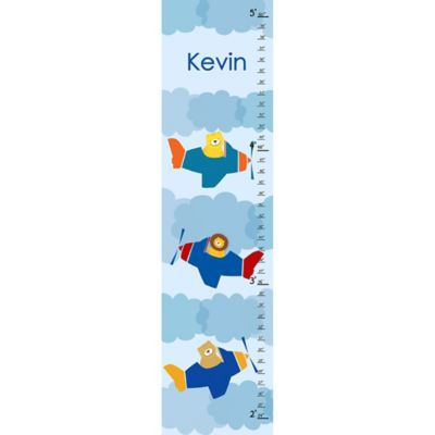 Green Leaf Art Lions Airplane Growth Chart in Blue