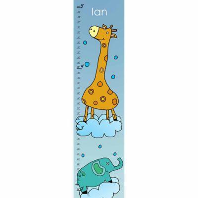 Green Leaf Art Giraffe and Elephant Growth Chart in Blue