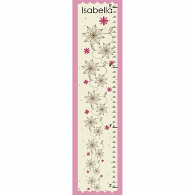 Green Leaf Art Flowers on Pink Growth Chart in Pink/Creme