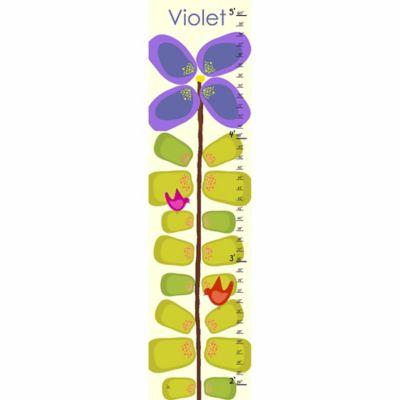 Green Leaf Art Purple Flowers Growth Chart in Purple/Green