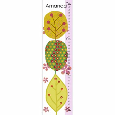 Green Leaf Art Trees and Leaves Growth Chart in Green/Pink