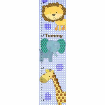 Green Leaf Art Jungle Animals Growth Chart in Blue