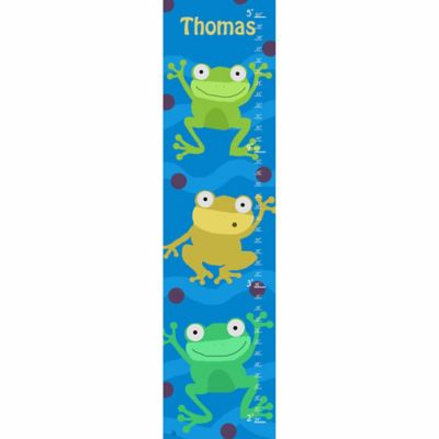 Green Leaf Art Frogs on Blue Growth Chart in Blue
