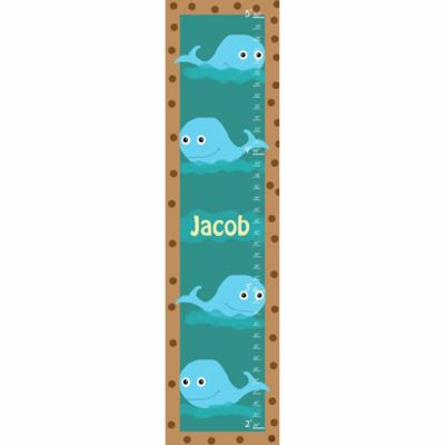 Green Leaf Art Whales Growth Chart in Blue