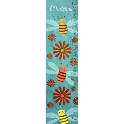 Green Leaf Art Bees Growth Chart in Blue