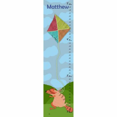 Green Leaf Art Raccoon and Kit Growth Chart in Blue