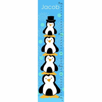 Green Leaf Art Stacked Penguins Growth Chart in Blue